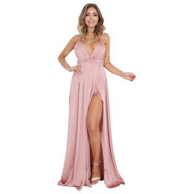 Women'S Sexy V Neck Solid Backless Strapless Maxi Dress