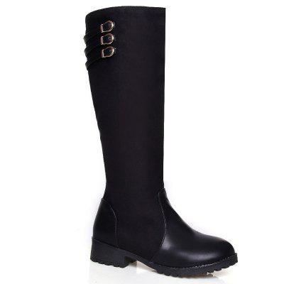 New Autumn and Winter with Round Side Zipper Long Canister Boots