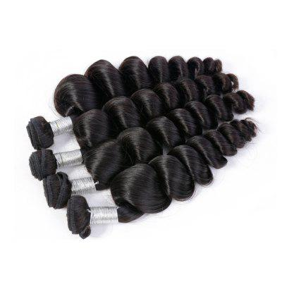 Buy BLACK 12INCH Brazilian Unprocessed Loose Wave Natural Color Virgin Human Hair Extension 1 bundles for $30.29 in GearBest store