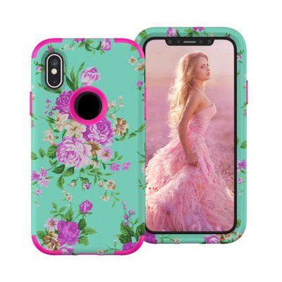 Per iPhone X armatura Shockproof Orchid Pattern Hybrid 3 in 1 High Impact Heavy Duty Hard robusto Cover Case Cover