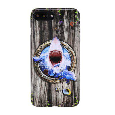Voor iPhone 8 Plus / 7 Plus Case Terror of The Shark Patroon Achterklep Cartoon Zachte TPU Mobiele telefoon Back Shell
