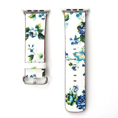 For 38mm iWatch British Rural Style Flower Genuine Leather Replacement Wristband Series 3 2 1- WHITE + BLUE + GREEN