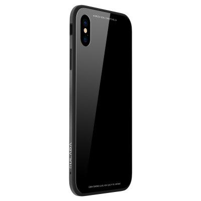 Silicone Soft Shell Metal Frame Toughened Glass Back Following for iPhone X Case 236824101