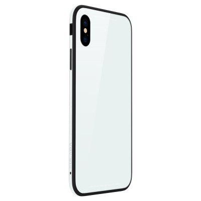 Silicone Soft Shell Metal Frame Toughened Glass Back Following for iPhone X Case 236824102