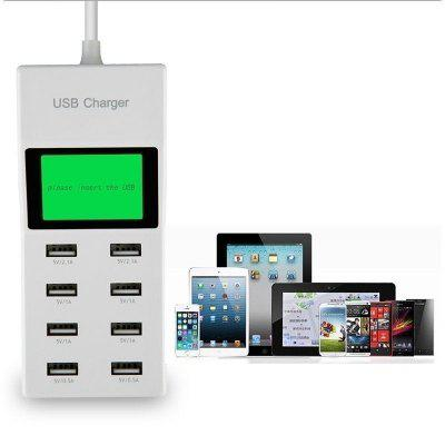 8 Port USB 2.1A Fast Charger AC110-220V Power Adapter Charging Extension Socket with Display Screen with UK /US /EU Plug