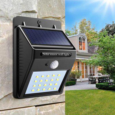 Buy BLACK Great Gift for Christmas Solar Powered Waterproof 20 LED Motion Sensor Wall Light for Patio Garden for $10.05 in GearBest store