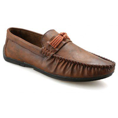Men Autumn and Winter Casual Outdoor Leather Loafers Slip on Shoes