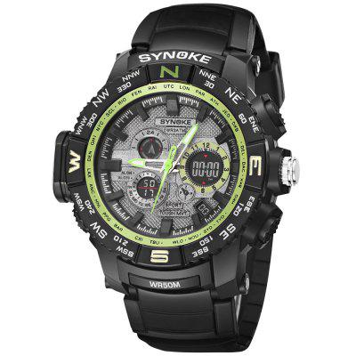 SYNOKE 6509 Outdoor Sports Mountaineering Student Male Electronic WatchLED Watches<br>SYNOKE 6509 Outdoor Sports Mountaineering Student Male Electronic Watch<br><br>Available Color: Black,Blue,Green<br>Band material: PU<br>Band size: 26 x 2.213cm<br>Brand: Synoke<br>Case material: ABS<br>Clasp type: Pin buckle<br>Dial size: 5.709 x 5.709 x 1.76cm<br>Display type: Analog-Digital<br>Hour formats: 12/24 Hour<br>Movement type: Multiple Movt<br>Package Contents: 1 x Watch<br>Package size (L x W x H): 12.50 x 8.00 x 9.00 cm / 4.92 x 3.15 x 3.54 inches<br>Package weight: 0.0640 kg<br>People: Male table<br>Product size (L x W x H): 26.00 x 5.71 x 1.76 cm / 10.24 x 2.25 x 0.69 inches<br>Product weight: 0.0612 kg<br>Shape of the dial: Round<br>Special features: Luminous, Alarm Clock, Stopwatch<br>Watch mirror: Acrylic<br>Watch style: LED