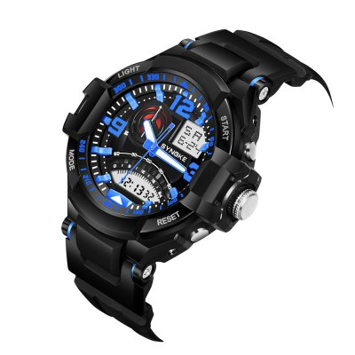 SYNOKE 67876 Trendy Waterproof Multifunctionable Men WatchLED Watches<br>SYNOKE 67876 Trendy Waterproof Multifunctionable Men Watch<br><br>Available Color: Black,Blue,Green,Red<br>Band material: PU<br>Band size: 26 x 2.1cm<br>Brand: Synoke<br>Case material: ABS<br>Clasp type: Pin buckle<br>Dial size: 5.4 x 5.4 x 1.7cm<br>Display type: Analog-Digital<br>Hour formats: 12/24 Hour<br>Movement type: Quartz + digital watch<br>Package Contents: 1 x Watch<br>Package size (L x W x H): 12.50 x 8.00 x 9.00 cm / 4.92 x 3.15 x 3.54 inches<br>Package weight: 0.0661 kg<br>People: Male table<br>Product size (L x W x H): 26.00 x 5.40 x 1.70 cm / 10.24 x 2.13 x 0.67 inches<br>Product weight: 0.0633 kg<br>Shape of the dial: Round<br>Special features: Date, Alarm Clock, Luminous<br>Watch mirror: Acrylic<br>Watch style: Outdoor Sports<br>Water resistance: 50 meters