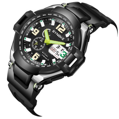 SYNOKE 67606 Outdoor Mountaineering Multifunction Men WatchLED Watches<br>SYNOKE 67606 Outdoor Mountaineering Multifunction Men Watch<br><br>Band material: PU<br>Band size: 26 x 2.1cm<br>Brand: Synoke<br>Case material: ABS<br>Clasp type: Pin buckle<br>Dial size: 5.1 x 5.1 x 1.6cm<br>Display type: Analog-Digital<br>Movement type: Quartz + digital watch<br>Package Contents: 1 x Watch<br>Package size (L x W x H): 12.50 x 8.00 x 9.00 cm / 4.92 x 3.15 x 3.54 inches<br>Package weight: 0.0599 kg<br>People: Male table<br>Product size (L x W x H): 26.00 x 5.10 x 1.60 cm / 10.24 x 2.01 x 0.63 inches<br>Product weight: 0.0571 kg<br>Shape of the dial: Round<br>Special features: Date, Stopwatch, Luminous, Alarm Clock<br>Watch mirror: Acrylic<br>Watch style: Outdoor Sports<br>Water resistance: 50 meters