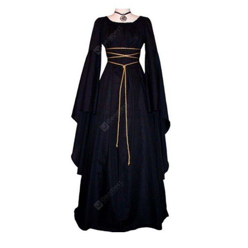 Women Sexy Medieval Dress Vintage Square Collar Long Sleeve Halloween Dresses Cosplay
