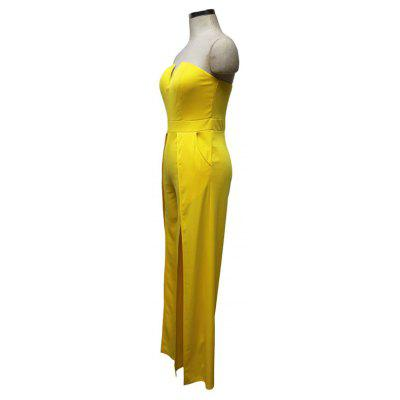 Womens Solid Color Split Strapless JumpsuitsJumpsuits &amp; Rompers<br>Womens Solid Color Split Strapless Jumpsuits<br><br>Elasticity: Elastic<br>Fabric Type: Broadcloth<br>Fit Type: Regular<br>Material: Polyester<br>Package Contents: 1 x  Jumpsuit<br>Package weight: 0.3200 kg<br>Pattern Type: Solid<br>Style: Sexy<br>With Belt: No