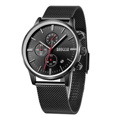 BAOGELA 1611 Chronograph Men Watch with Multi-function Stainless Steel Mesh BandMens Watches<br>BAOGELA 1611 Chronograph Men Watch with Multi-function Stainless Steel Mesh Band<br><br>Available Color: Black,Black and Gold,Gold,Gold and Black,Silver<br>Band material: Alloy + plastic<br>Band size: 2.4 x 2.1cm<br>Case material: Alloy<br>Clasp type: Hook buckle<br>Dial size: 24 x 4.2 x 1.0cm<br>Display type: Analog<br>Movement type: Quartz watch<br>Package Contents: 1 x Watch, 1 x Watch Box<br>Package size (L x W x H): 16.30 x 8.00 x 3.20 cm / 6.42 x 3.15 x 1.26 inches<br>Package weight: 0.1750 kg<br>Product size (L x W x H): 24.00 x 4.20 x 1.00 cm / 9.45 x 1.65 x 0.39 inches<br>Product weight: 0.0850 kg<br>Shape of the dial: Round<br>Special features: Date, Light, Decorating date<br>Watch mirror: Mineral glass<br>Watch style: Fashion, Ultrathin, Business, Casual<br>Watches categories: Men