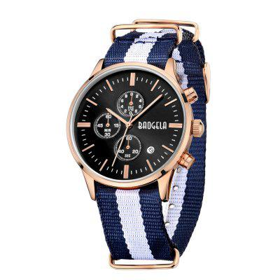 BAOGELA 1611 Man Casual Waterproof  Multifunctional WatchMens Watches<br>BAOGELA 1611 Man Casual Waterproof  Multifunctional Watch<br><br>Band material: Canvas<br>Band size: 26 x 2cm<br>Brand: BAOGELA<br>Case material: Alloy<br>Clasp type: Pin buckle<br>Dial size: 4 x 4 x 0.6cm<br>Display type: Analog<br>Movement type: Quartz watch<br>Package Contents: 1 x Watch, 1 x Box, 1 x Manual<br>Package size (L x W x H): 16.30 x 8.00 x 3.20 cm / 6.42 x 3.15 x 1.26 inches<br>Package weight: 0.1443 kg<br>Product size (L x W x H): 26.00 x 4.00 x 0.60 cm / 10.24 x 1.57 x 0.24 inches<br>Product weight: 0.0547 kg<br>Shape of the dial: Round<br>Special features: Decorative sub-dial, Day<br>Watch mirror: Mineral glass<br>Watch style: Outdoor Sports, Casual, Trends in outdoor sports<br>Watches categories: Men