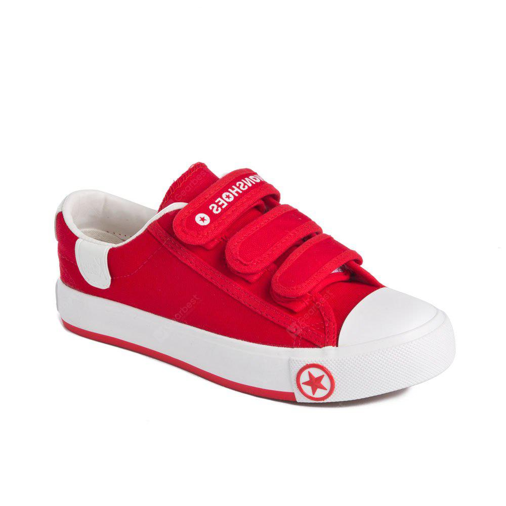 Students Velcro Solid Coler Canvas Flat Shoes - RED