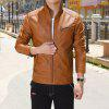 Thin Cotton Inner Men Autumn Solid Leather Jacket - BROWN