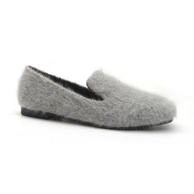 Women Autumn Spring Fashion Casual Warm Soft Platform Flat Bowknot Simple Fur Loafer Shoes