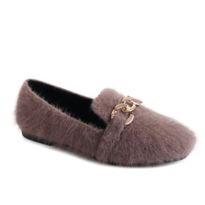 Women Autumn Spring Fashion Casual Warm Soft Thick Flat Bowknot Simple Fur Loafer Shoes