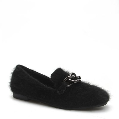 Women Autumn Spring New Fashion Casual Warm Soft Flat Simple Fur Loafer Shoes