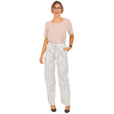 Buy WHITE L Striped Trousers Wide Leg Half-length Loose Trousers Female for $27.00 in GearBest store