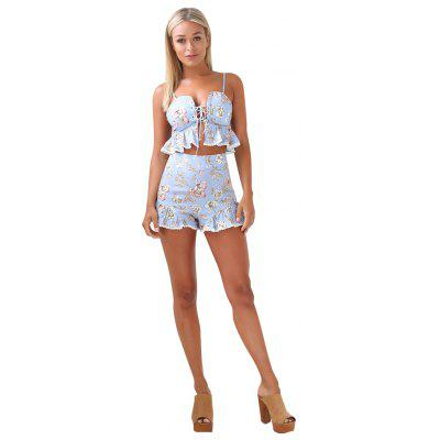 Fashion Two Piece Lace Strapless Temptations Shorts Beach Resort Suit