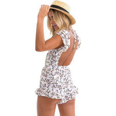 Sexy V-Neck Short-Sleeved Back With Flower Print Bow Shorts fever short gloves with bow красные короткие перчатки