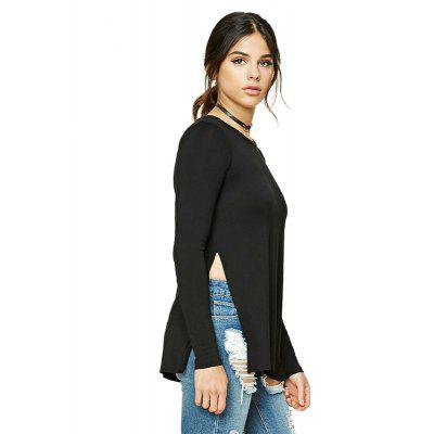 Slim Personality Side Open Long Sleeve Round Collar T-ShirtTees<br>Slim Personality Side Open Long Sleeve Round Collar T-Shirt<br><br>Collar: Round Neck<br>Elasticity: Elastic<br>Fabric Type: Cotton and kapok hemp<br>Material: Cotton, Polyester<br>Package Contents: 1 x T-Shirt<br>Pattern Type: Solid<br>Shirt Length: Regular<br>Sleeve Length: Full<br>Style: Casual<br>Weight: 0.2000kg