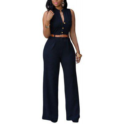 Buy BLACK 2XL Women's Sleeveless Sash Buttons Jumpsuit Polyester for $27.23 in GearBest store