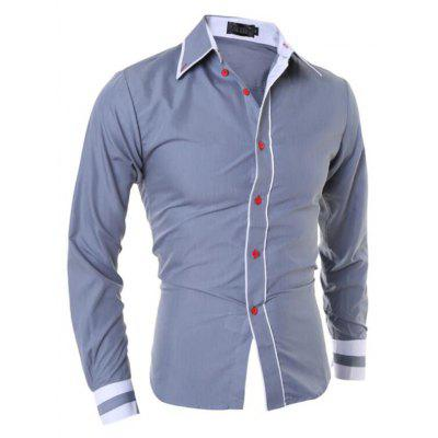 Men's Casual Simple Stripe Long Sleeves Shirts