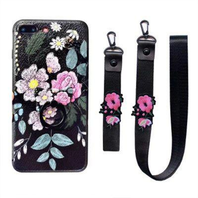 XY14 Relief Silicone Strap Ring Set Flores Caída para iPhone 8