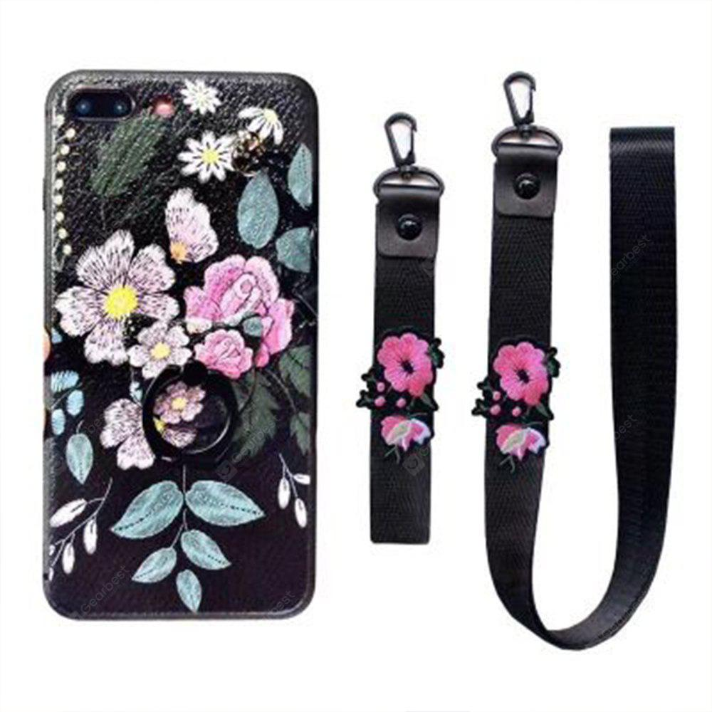 XY14 Relief Silicone Strap Ring Set Fleurs automne pour iPhone 8