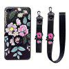 XY14 Relief Silicone Strap Ring Set Flores Caída para iPhone 8 - NEGRO