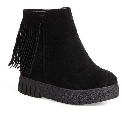 New Short Flat Bottomed Tassels High Soles Heels Single Boots