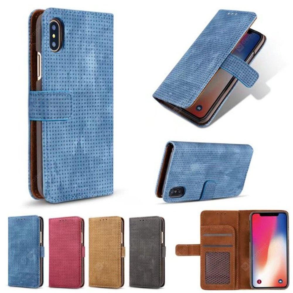 Para iPhone X Cover Case Mesh Style Flip Wallet