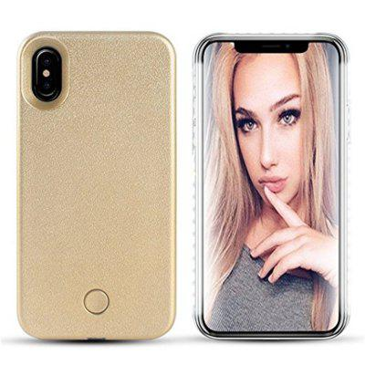 Buy GOLDEN Anti-Skid Emitting Hard Back Shell Fashion Selfie LED Flash Light Phone for iPhone X Case for $7.15 in GearBest store