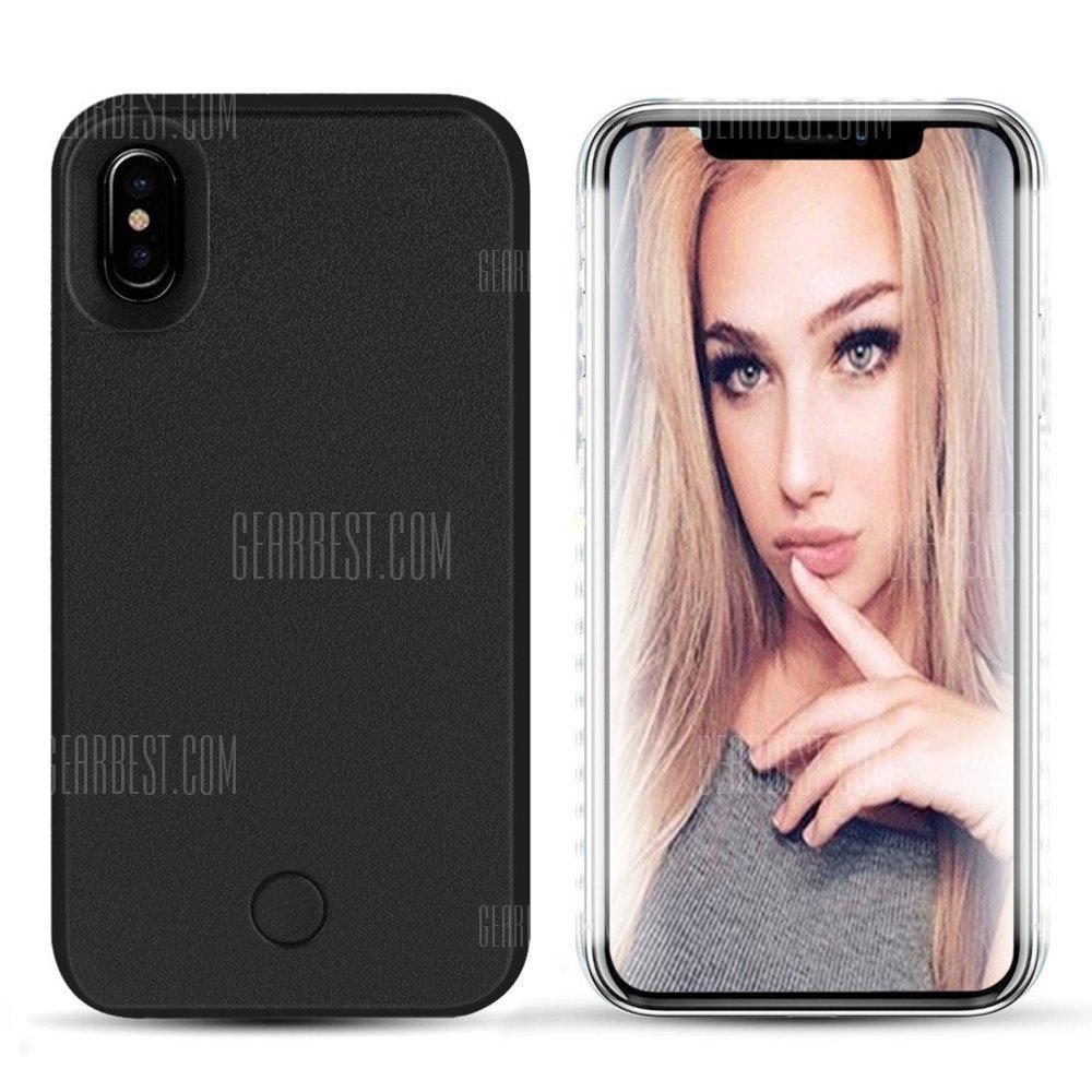 Antideslizante que emite la parte posterior dura de Shell Moda Selfie LED Flash Light Phone para iPhone X Funda