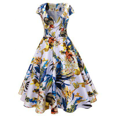 Buy FLORAL M Women'S Dress Fashion Printed Cotton Retro Hepburn Dress for $37.18 in GearBest store