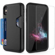 Wallet Credit Card TPU Cushion Protective Holder Enhanced Grip Slot Holder Cover for iPhone X Case