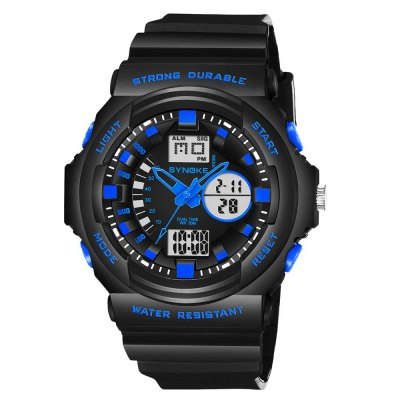 SYNOKE66866Outdoor Climbing Waterproof Electronic Watch ManLED Watches<br>SYNOKE66866Outdoor Climbing Waterproof Electronic Watch Man<br><br>Available Color: Black,Blue,Green,Orange,Gold<br>Band material: PU<br>Band size: 27 x 2.217cm<br>Brand: Synoke<br>Case material: ABS<br>Clasp type: Pin buckle<br>Dial size: 5.16 x 5.16 x 1.712cm<br>Display type: Analog-Digital<br>Hour formats: 12/24 Hour<br>Movement type: Quartz + digital watch<br>Package Contents: 1 x Watch<br>Package size (L x W x H): 12.50 x 8.00 x 9.00 cm / 4.92 x 3.15 x 3.54 inches<br>Package weight: 0.0596 kg<br>People: Male table<br>Product size (L x W x H): 27.00 x 5.16 x 1.71 cm / 10.63 x 2.03 x 0.67 inches<br>Product weight: 0.0568 kg<br>Shape of the dial: Round<br>Special features: Date, Alarm Clock, Stopwatch<br>Watch mirror: Acrylic<br>Watch style: Outdoor Sports<br>Water resistance: 50 meters