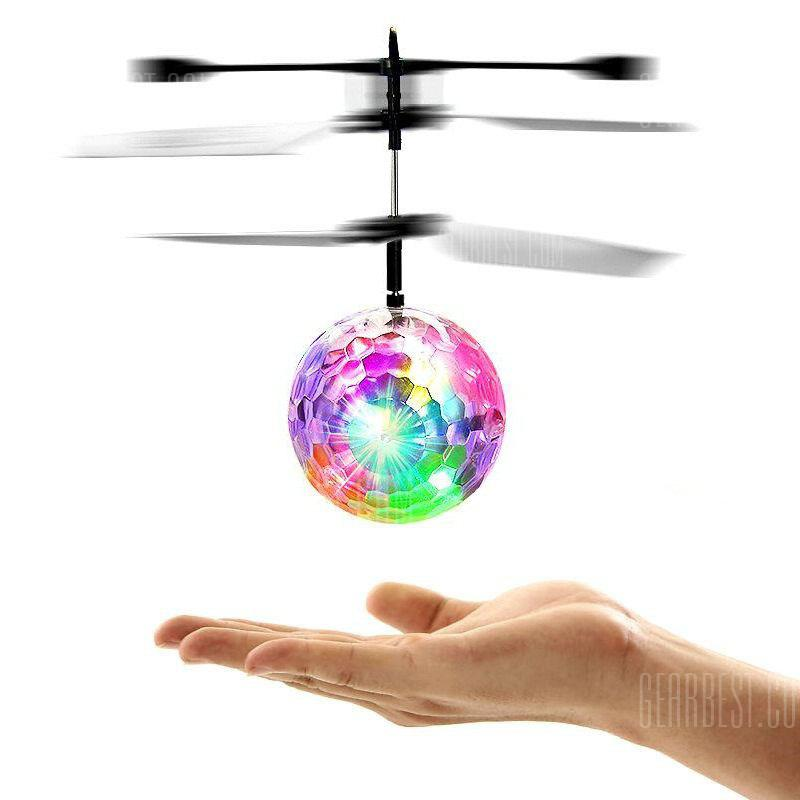 Lampe colorée d'induction Flash Flying Ball Helicopter Toy pour les enfants - BLANC