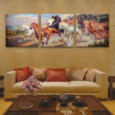 Special Design Frameless Paintings Horses running 3PCS -  16 X 16 INCH (40CM X 40CM)  BROWN