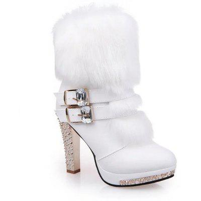 The New Fashion Round Side Zipper Slim Sexy High-heeled Boots and Short Tube