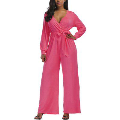 Women's Jumpsuit Sexy Deep V Neck Long Sleeves Sash