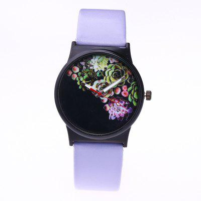 Fashionable Woman Flower Pattern Quartz Watch