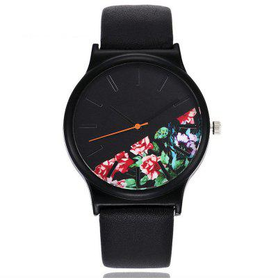 Vintage Leather Band Women Flower Pattern Casual Quartz Watch