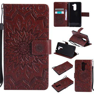 Sun Flower Printing Design Pu Leather Flip Wallet Lanyard Protective Case for Huawei Honor 6X