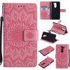 Sun Flower Printing Design Pu Leather Flip Wallet Lanyard Protective Case for Huawei Honor 6X - PINK