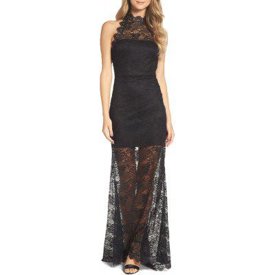 Women's Maxi Long Halterneck Sleeveless Hollow Out Sexy Lace Dress