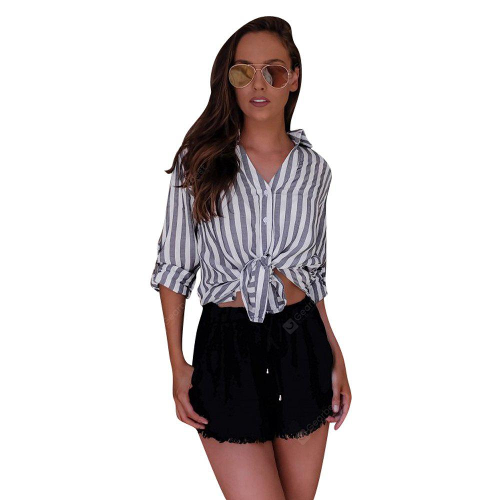 Весенняя мода Striped Street Shirt
