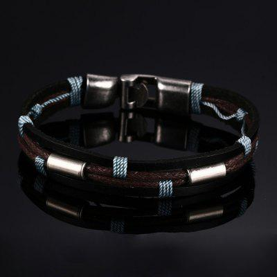 Leather Fashion Mens Leather Braided Metal Buckle BraceletMens Jewelry<br>Leather Fashion Mens Leather Braided Metal Buckle Bracelet<br><br>Gender: For Men<br>Item Type: Bangle<br>Metal Type: Copper<br>Package Contents: 1 x Bracelet<br>Package size (L x W x H): 7.00 x 5.00 x 0.50 cm / 2.76 x 1.97 x 0.2 inches<br>Package weight: 0.1370 kg<br>Style: Retro